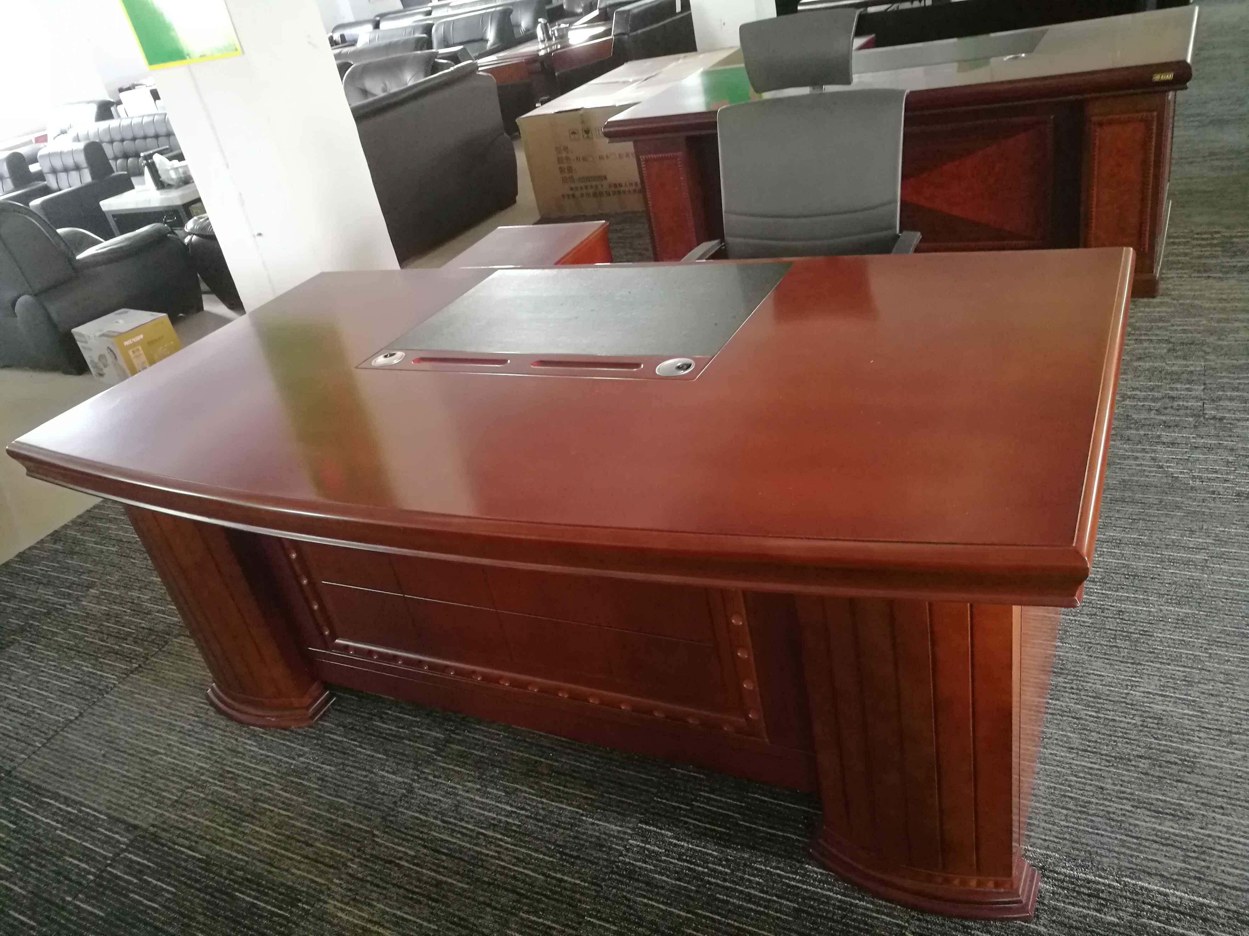 二手实木皮老板桌